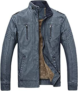 YIMANIE Men's Vintage Stand Collar Pu Leather Jacket Casual Biker Motorcycle Cool Bomber Jacket