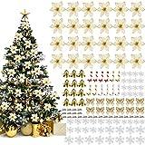 Queta 120pcs Decoraciones para Árboles de Navidad Artificiales Flores de Navidad, Adornos de...