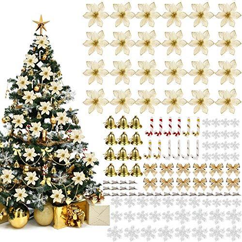 Queta 120pcs Decoraciones para Árboles de Navidad Artificiales Flores de Navidad, Adornos de Árboles de Navidad con Copos de Nieve Campanas Bowknots Clips para...