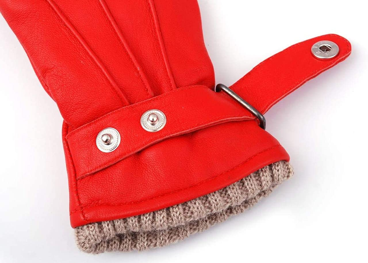 Women Genuine Sheep Leather Winter Dress Driving Riding Texting Gloves with Wool and Fleece Lining (Red, X-Large)