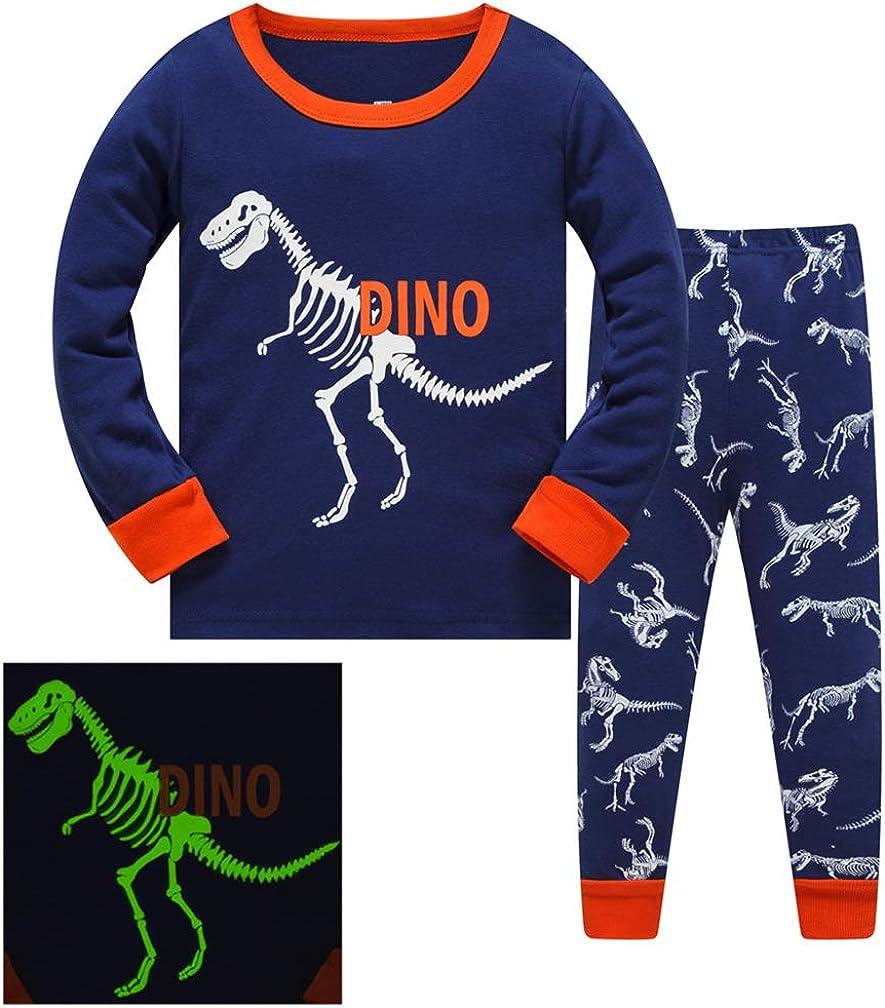 DAWILS Pijama para Ni/ños de Dinosaurio Pijama Dos Piezas Manga Larga Ni/ño Ropa de Algod/ón Traje Dos Set 2-8 A/ños