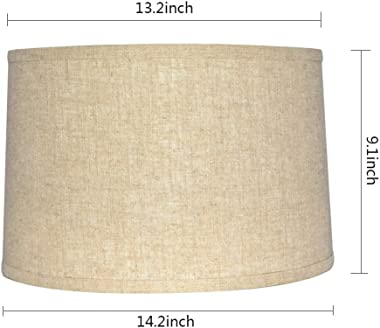 """Tootoo Star Brown Lamp Shade Large Drum Lampshade for Chandeliers Floor Light and Table Lamp 13x14x9"""", Fabric Natural Lin"""