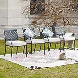 LOKATSE HOME Outdoor Wrought Iron Dining Chairs Set of 4, Cast Aluminum Lattice Weave Desi...