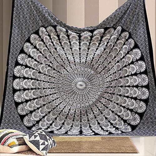 Globus Choice Inc Tapiz para colgar en la pared, diseño de mandala de pavo real, hippie, bohemio, psicodélico, color blanco y negro