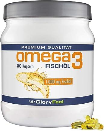 Omega 3 Fischöl-Kapseln 1000mg - Der VERGLEICHSSIEGER 2019* - 400 Stück Hochdosiert - Mit 180mg EPA und 120mg DHA pro Omega-3 Softgel-Kapsel - Ohne Magnesiumstearate von GloryFeel