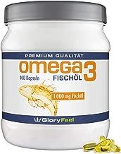 GloryFeel® Omega 3 Fischöl-Kapseln 1000mg - Der VERGLEICHSSIEGER 2019* - 400 Stück Hochdosiert - Mit 180mg EPA und 120mg DHA pro Omega-3 Softgel-Kapsel - Laborgeprüfte Herstellung in Deutschland