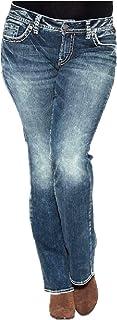 CuteRose Women's Low Waist Denim Pants Washed Trousers Straight Jeans