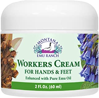 Montana Emu Ranch - Workers Cream for Hands and Feet - 2 Ounce Jar - Enhanced with Pure Emu Oil