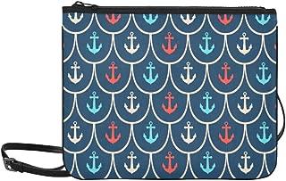 Red Blue White Nautical Anchor Pattern Pattern Custom High-grade Nylon Slim Clutch Bag Cross-body Bag Shoulder Bag