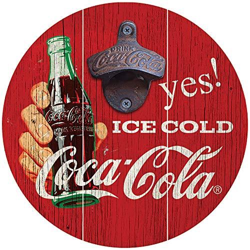 SOTT Sottyes - Abrebotellas de Hielo frío Coca-Cola de 20,32 cm de diámetro de Madera y Hierro para Pared