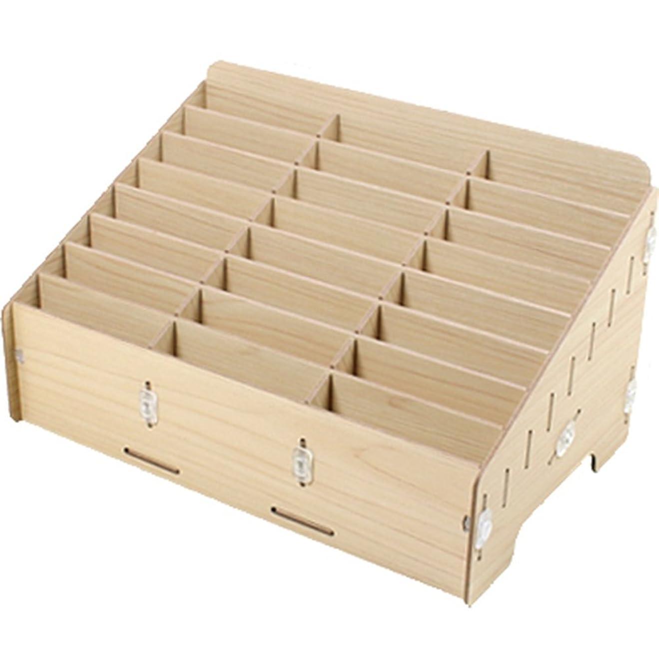 幻想的セールスマンとげUmora 収納ボックス 多機能 携帯電話 収納ポケット オフィス用 教室用 木製 便利(24つの仕切り)