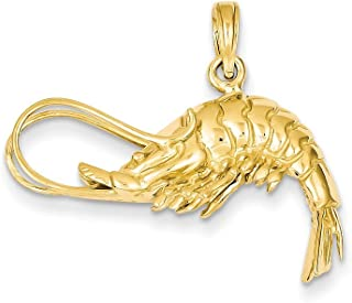 14k Yellow Gold Polished 3-Dimensional Shrimp Pendant