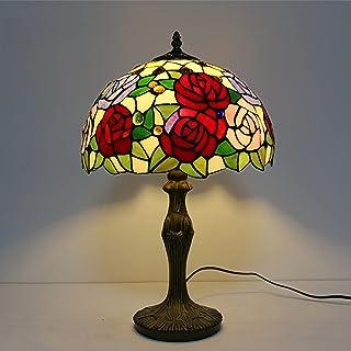 WAOUY Lampe Chevet Tiffany,Chambre Rose Lampe Table Attentionnée Abat-Jour en Verre Teinté Boho Salon Victorien Chambre Fe...