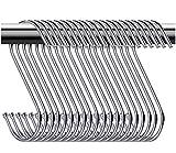 TOLOVIC Ganchos para Colgar en Forma de S Inoxidable Ganchos de Metal Ganchos para Colgar Ganchos de Armario para Baño, Dormitorio, Puerta de Armario