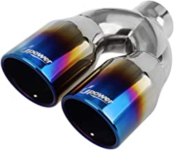 4// Length 9 Upower Pack of 2 Blue Burnt Exhaust Tip 2.5 Inch Inlet 4 Outlet 9 Long Single Wall Slant Cut 304 SS 2.5 inch//OD