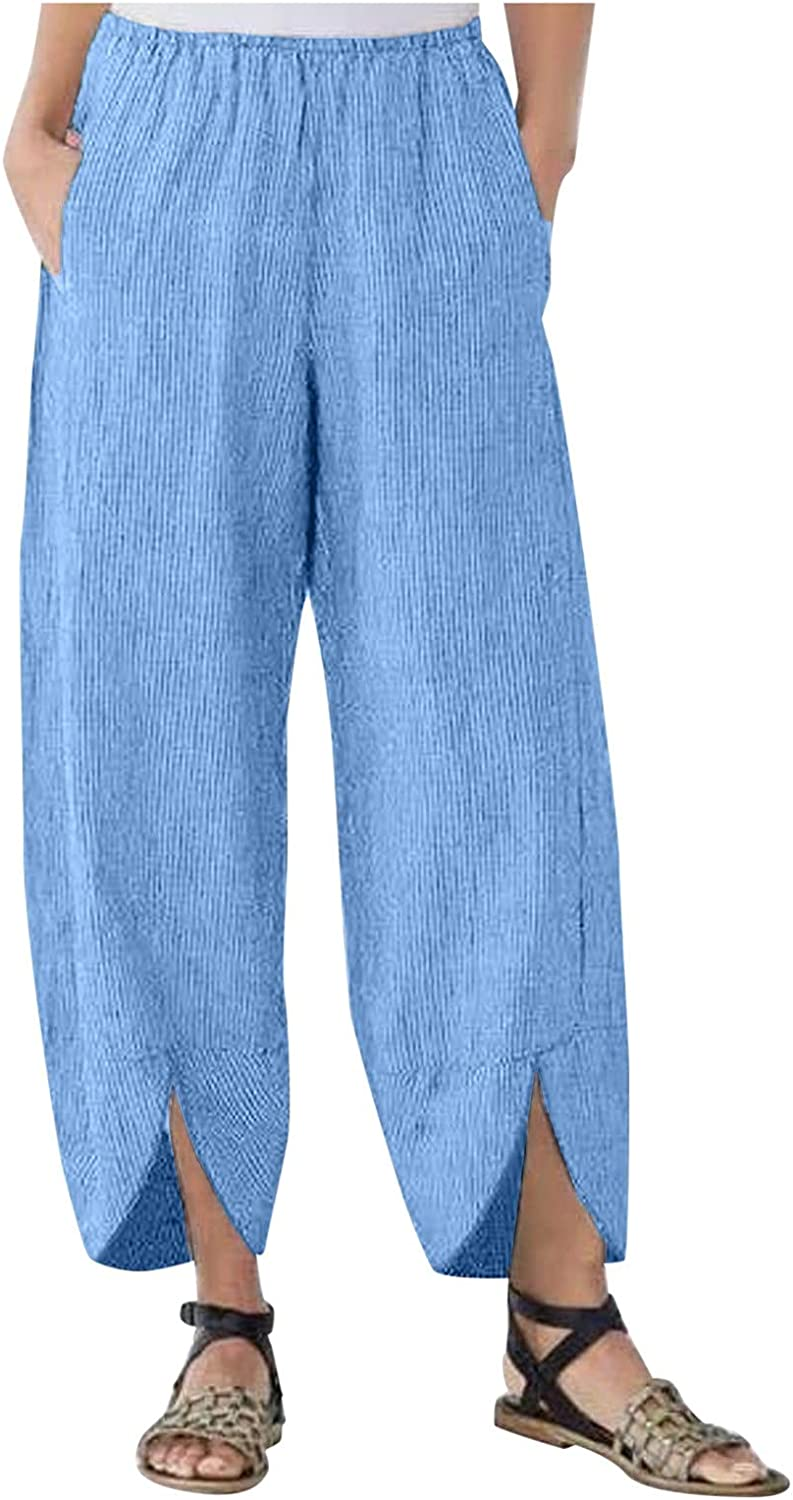 LEIYAN Womens Cotton Cropped Pants Casual Baggy Fit Wide Leg Capri Yoga Trousers Comfy Corduroy Outdoor Pajamas Joggers