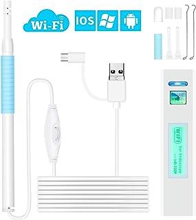 耳かき カメラ 【技適認証済み】 iphone対応可能 WIFI電子耳鏡 内視鏡 耳掃除 スコープ 顕微鏡 耳、鼻、口腔ケア HD内視鏡 LEDライト付き 輝度調節可 IOS Android Windows対応 専用WIFI発信機付き (ホワイト)