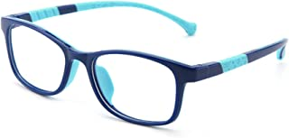 Blue Light Blocking Glasses for Kids - Anti Eyestrain Computer Eyewear - TR90 Rectangular Frame + Case + Cleaning Cloth