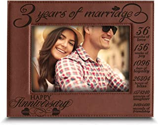 BELLA BUSTA- 3 Years of Marriage-2016-2019- Years,Months, Weeks, Days, Hours, Weeks, Minutes, Seconds- Engraved Leather Picture Frame (5 x 7 Horizontal (Rawhide))