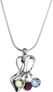 Sterling Silver Mom's Loving Embrace Necklace Customize with 1 to 4 Swarovski Crystal Birthstone Charms 18 to 22 Inch