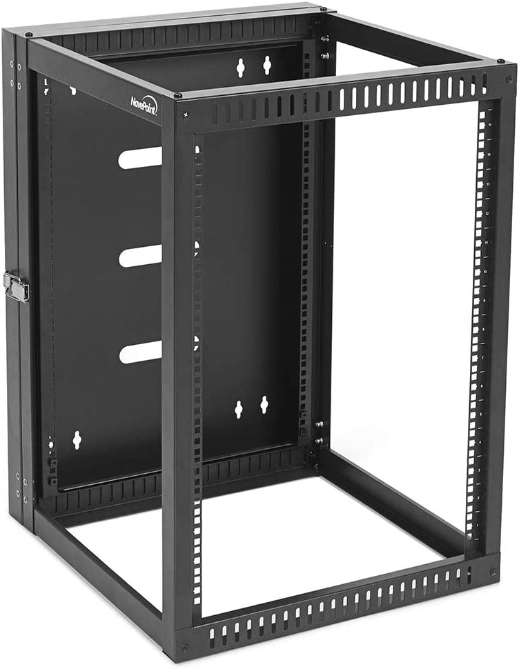 NavePoint 15U Hinged Open Frame Wall-Mount Network Rack, 4-Post 24 Inch Depth, Rear Swing Frame, Easy Rear Access to Equipment and Cable Management, Holds Network Servers and AV Equipment