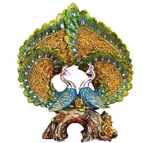 Ayhuir European Love Peacock Figurines de gama alta decoración creativa para el hogar resina pavo real salón vino gabinete boda regalos negocios