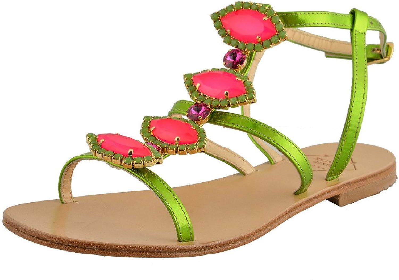 Emanuela Caruso  Capri Women's Stones Decorated Flat Sandals shoes
