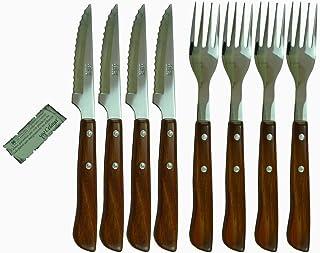 Juego Cuchillos y Tenedores Chuleteros Madera Celaya Lote 8 Uds.