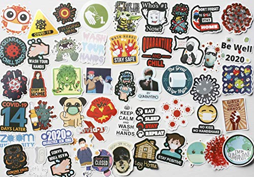 50Pcs Funny Hard Hat Stickers for Helmet Hilarious Stickers Covid Virus Decals Face Mask Stickers Coronavirus Decals
