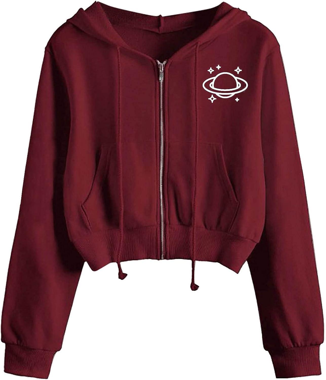 Toeava Long Sleeve Crop Top Zip Up Hoodie Workout Sweatshirts for Women, Women's Casual Jumper Sweatshirt Jacket