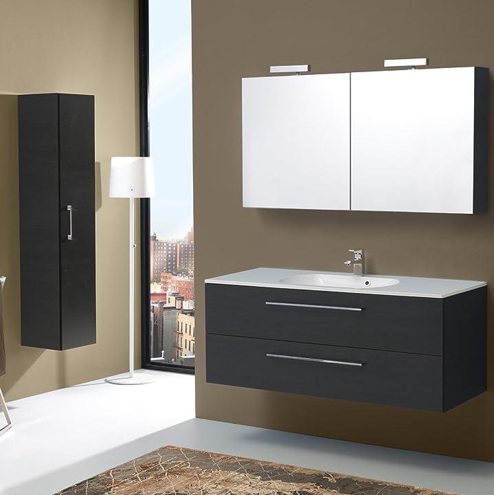 Mobile bagno sospeso con cassetti 120cm, specchio contenitore in rovere scuro | boston B00RRV0KBY