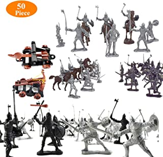 Quande Military Soldier Catapult Toys Mini Middle Ages Soldier Weapon Medieval Knights Warriors Soldiers Cavalries and Horses Figures Model