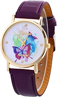 Butterfly Watches for Women,COOKI Unique Analog Fashion Lady Watches Female Watches on Sale Casual Wrist Watches for Women Comfortable PU Leather Watch,H20