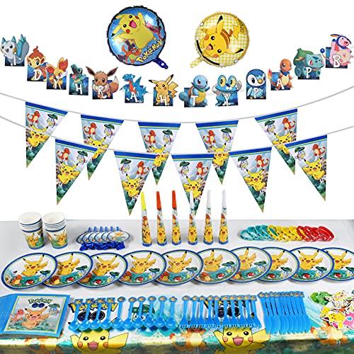 Decoración para cumpleaños Fiesta,Party Supplies Set,Vajilla de Fiesta de cumpleaños con Globos Pegatinas Pennant Banner(159pcs)