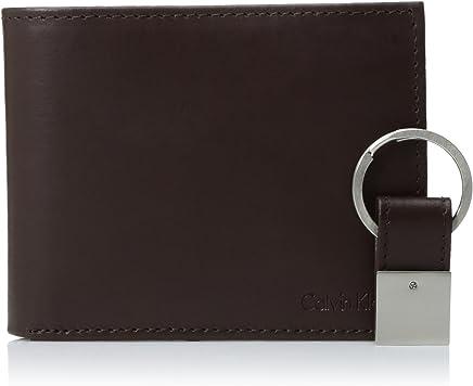 Calvin Klein 男式皮革双折钱包带钥匙扣  Rfid Brown One Size