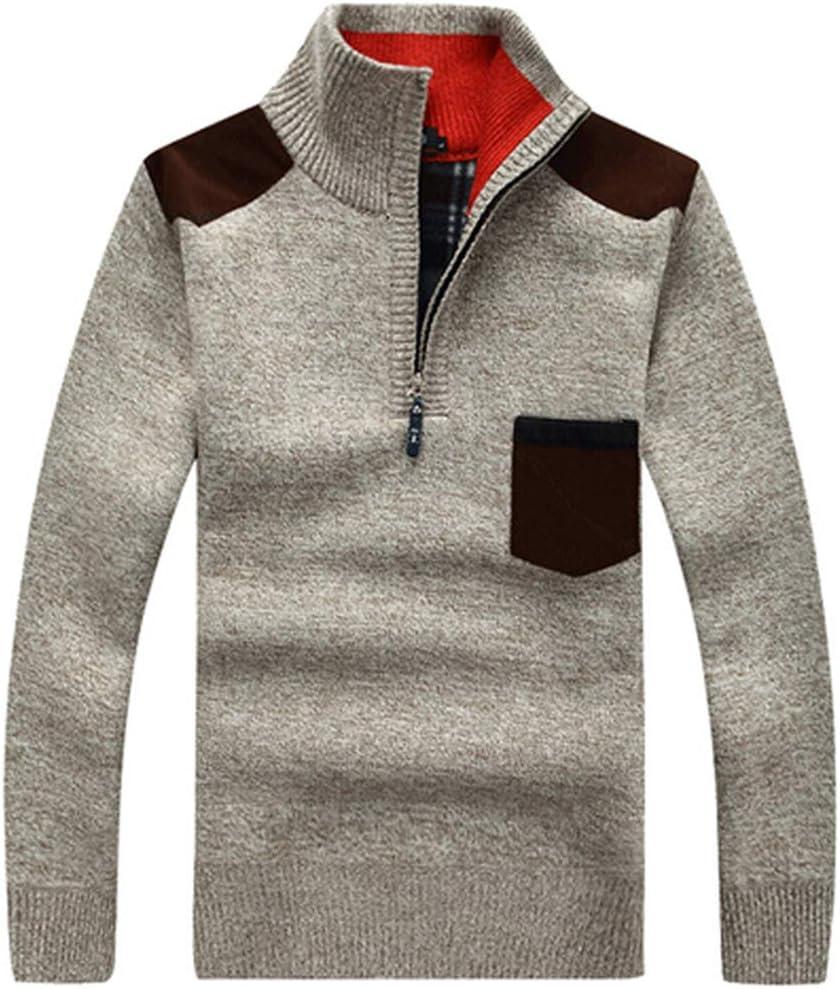 Hzikk Winter Sweaters Men's Pullovers Warm Thick Knitwear Mens Sweater Casual Cashmere,Beige,M