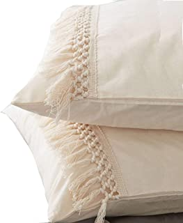 Flber White Pillowcases Tassel Sham Cotton Pillow Covers,Set of 2 (19.7in x35.5in)