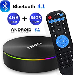 Android 8.1 TV Box, [2019 Updated Edition] Smart Android TV Box Media Player Quad-Core Amlogic S905X2 4GB RAM 64GB ROM Support 5.8G Band WiFi/H.265/ BT4.1/ USB 3.0/ 1000M LAN/ 3D/ 6K Ultra HD