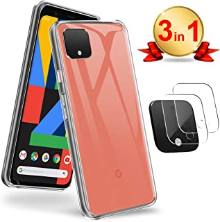 [3 In 1] AVIDET for Google Pixel 4 XL Camera Lens Protector,Tempered Glass HD [Anti-Fingerprints] [Anti-Scratch] [Bubble-Free] [with Case] Camera Protector for Google Pixel 4XL (Clear)