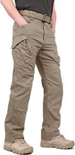 CRYSULLY Men's Tactical Pants Military Cotton Mutil Pockets Assault Cargo Work Trousers