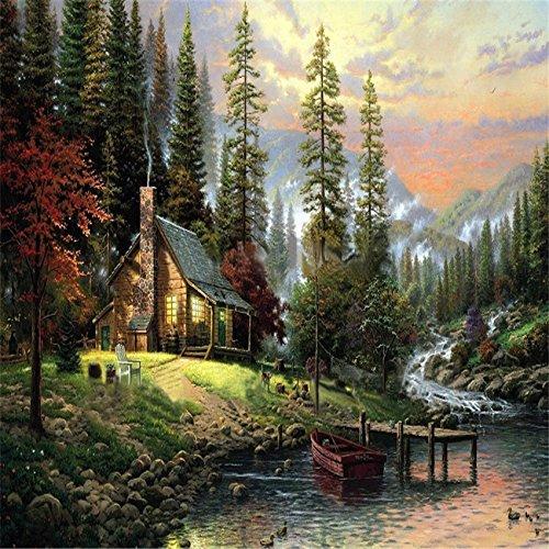 Innovey 40X50 cm frameloze De cabine in het bos linnen doek olieverfschilderij DIY schilderen op cijfers