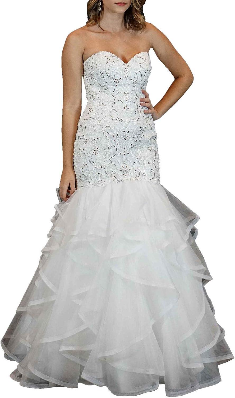 Aishanglina Women's Pearls Beaded Organza Ruffles Mermaid Bridal Gown Formal Event Party Dress