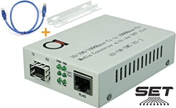 Open SFP Slot - Gigabit Ethernet - Fiber Optic Media Converter - to UTP Cat5e/Cat6 10/100/1000 Copper – AutoSensing - SFP Slot Supporting Any Mini GBIC/SFP Gigabit Type - Jumbo Frame & LLF Support