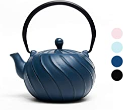 Tea Kettle, TOPTIER Japanese Cast Iron Teapot with Stainless Steel Infuser, Cast Iron Tea Kettle Stovetop Safe, Wave Design Teapot Coated with Enameled Interior for 30 Ounce (900 ml), Navy Blue