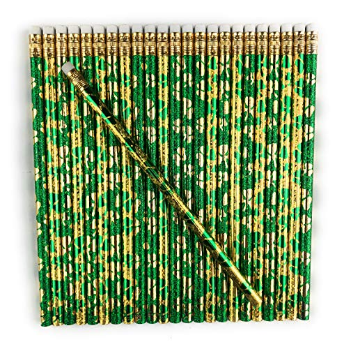 Lucky Pine Shamrock Pencils, St. Patrick's Day Pencils, Made in USA (24 pencil set)
