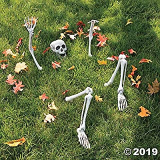 Life-Size Skeleton Yard Halloween Decoration - Ground breaker skeleton with Movable Jaw Skull and Jointed Legs and Arms