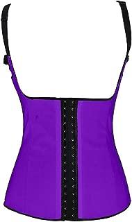 Women's Latex Underbust Waist Training Shapewear Corset Postpartum Support Purple XXL