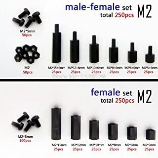 Ochoos 250pcs Plastic Nylon M2 Hex Column Standoff Spacer Screw Nut Assortment Kit PCB - (Dimensions: M2 Male Female Set)