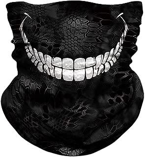 Skull Face Mask - UV Sun Mask Dust Wind Neck Gaiter, Half Face Mask for Motorcycle Riding Skeleton Bandana, Seamless Headwear Tube Mask for Fishing Hunting Cycling Men Women