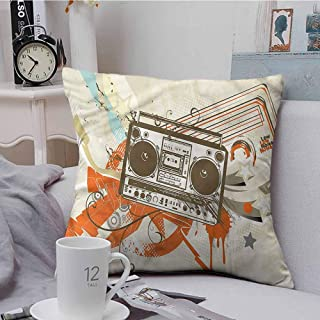 Fbdace Square Throw Throw Pillow Covers Urban Boom Box Illustration Urban Soft, Breathable and Hypoallergenic 18 X 18 Inch